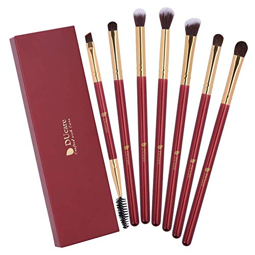 DUcare Makeup Eye Brush Set - 7 Stück Lidschatten Eyeliner Blending Crease Kit - Wesentliche Make-up-Pinsel - Länger Länger, Besser Make-up auftragen -