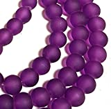 Gefrostete Glasperlen Violet Lila KUGELN 10mm Matt Strange Vereist Perle R62