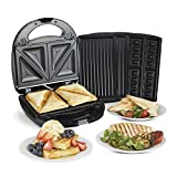 VonShef Sandwich Toaster, Waffle Maker & Grill, for Toasties, Panini's, Snacks & More, Non-Stick Interchangeable Plates, Compact Size