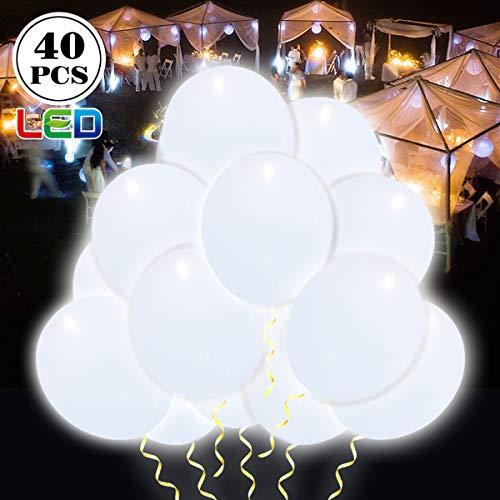 ende Luftballons 12 Zoll mit eigenem Schalter Party Artefakt, 24 Stunden Leuchtdauer, für Party, Geburtstag, Hochzeit, Festival, Weihnachten usw.(Weiß II) ()