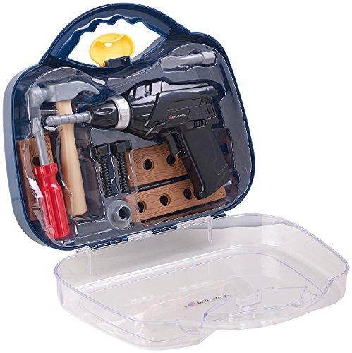 Playtastic Kinder Werkzeug: Kinder-Werkzeugkoffer, 11-teilig mit Batterie-Bohrmaschine & Zubehör (Kinder Werkzeugkasten)