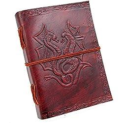 Chic & Zen–Cuaderno, bloc de notas, diario, libro, piel auténtica, Vintage, Double Dragon, 13cm x 17cm, papel Premium