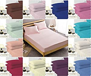 "EASY CARE Non Iron 16"" (40cm) ~ Extra Deep FITTED Bed Sheets with FREE PILLOWCASES ~ PERCALE quality for THICK MATTRESS~ single, double, king & super king ~ UK SIZES"