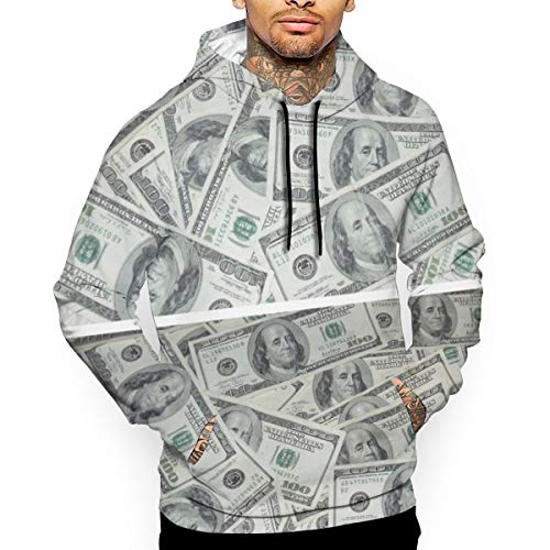 PecoStar Herren Sweatshirt USA Dollar Bill Long Sleeve Hoodies 3D Print Pullover S M L XL 2XL Gr. X-Large, weiß (Dollar Bill Ärmel)
