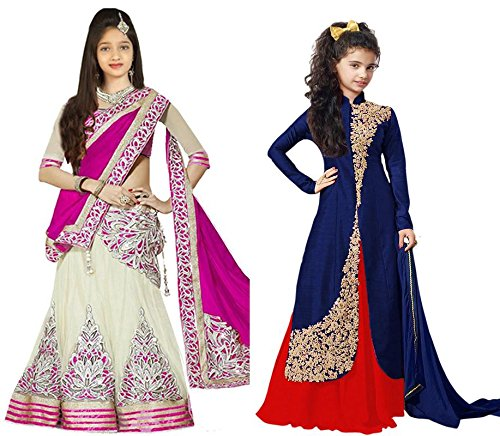 Market Magic World Girl's Pink & Blue Banglori, Net Semi Stitched Combo...