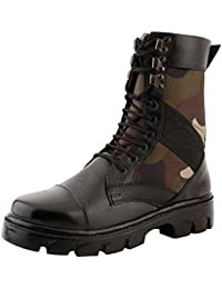 Nuan Black Leathrite & Combat Print Lace Up Full Ankle Jungle Boots (Fit For Casual/Formal)