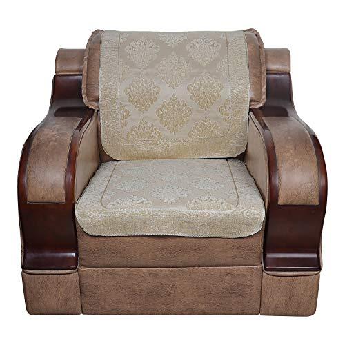 S N TRADERS Italian Velvet 6 Pcs Embossed Self Abstract Design Sofa Cover Set of 5 Seater (3+1+1) - Cream, Off White