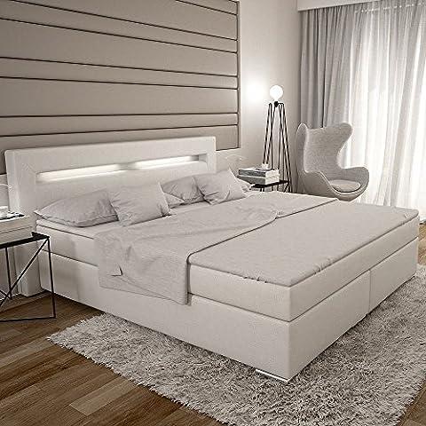 Dalian Boxspringbett 180x200 cm - weißes Polster-Bett in Leder-Optik mit