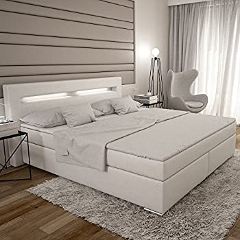 dalian boxspringbett 180x200 cm wei es polster bett in leder optik mit integrierter led. Black Bedroom Furniture Sets. Home Design Ideas