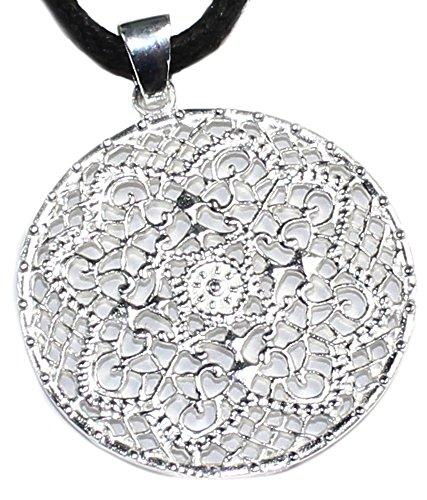 budawi - Silberanhänger indische Henna-design-Elemente, Ø 33 mm, Kettenanhänger
