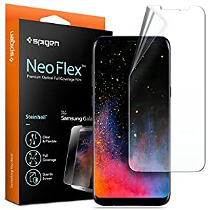 Spigen® [Pas en verre trempé] Film Protection Samsung Galaxy S8 Plus [Compatible avec la Coque, Couverture maximale] **Liquid installation** TPU Film **Ultra Clair** [Neo Flex] Film Protection ecran Galaxy S8 Plus (571FL21770)