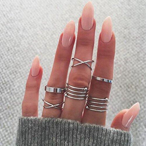 Yesiidor 6stück Midi Ringe Set Silber Für Damen Retro Fingerring Nagel Finger