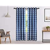 Solimo Celesta Door Curtain, 7 feet - Set of 2 (Merlin Blue)