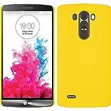 PhoneNatic Case für LG G3 Hülle gelb gummiert Hard-case + 2 Schutzfolien