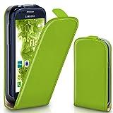 moex Samsung Galaxy S3 Mini | Hülle Grün 360° Klapp-Hülle Etui thin Handytasche Dünn Handyhülle für Samsung Galaxy S3 Mini S III Case Flip Cover Schutzhülle Kunst-Leder Tasche