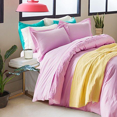 KKCDB Reine Farbe Spitzen Vier sätze Reiner Baumwolle Bett Produkte,Blume,2.0m (6,6 Meter). - Blume-bett-satz