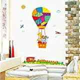 Süße Tiere Elefant Affe Löwe Giraffe auf dem Heißluftballon Kinderzimmer Babyzimmer Wandtattoos Wandaufkleber Wanddekoration, Vinyl