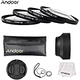 Andoer 62mm Close-up Macro lentille filtre ensemble (+ 1 + 2 + 4 + 10) avec accessoires (bouchon d'objectif, étui d'objectif + pare-soleil pliable + chiffon de nettoyage + porte-bouchon d'objectif)