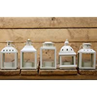 Set Of 5 Cream Metal Decorative Tealight Candle Holder Lanterns by Carousel Home