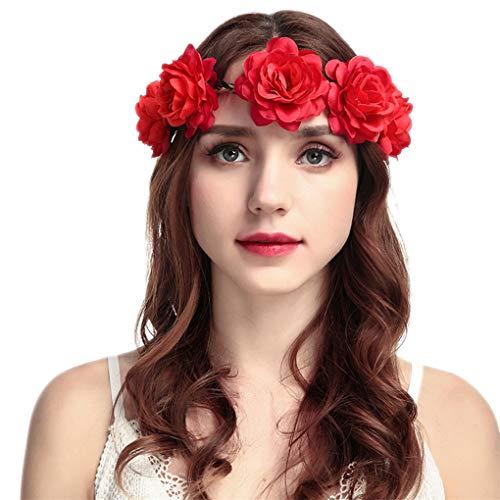 Dorical Stirnband Blumen, 1 Stück Stirnbänder Krone Haarband Kopfband Blume Haarbänder mit Elastischem Band für Hochzeit und Party Haarbänder Band für Frauen Mädchen (One Size, Z05-Rot) -
