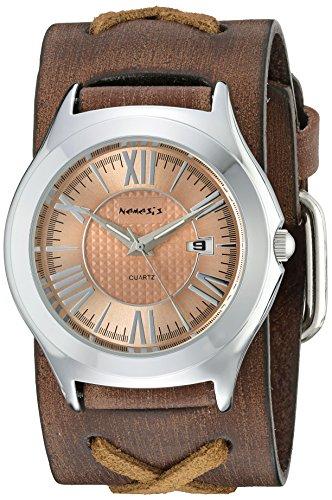 Nemesis 099bfxb-p rosa romano de la mujer Casual serie Faded X piel analógica de cuarzo japonés Marrón Reloj