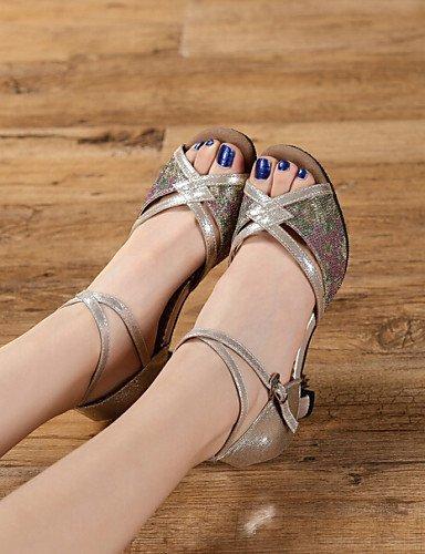 ShangYi Chaussures de danse(Noir / Argent / Autre) -Non Personnalisables-Talon Bottier-Synthétique-Latine Black