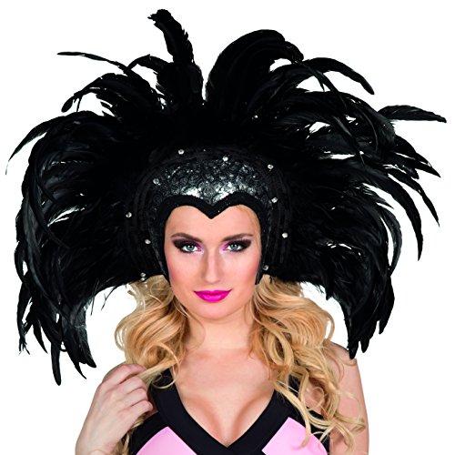 Kostüm Samba Rio - Boland 00375 - Kopfschmuck Showgirl, Einheitsgröße, schwarz