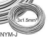 (0,47 EUR/m) NYM-J 3x1,5mm² Feuchtraumkabel Mantelleitung Installationskabel 50m