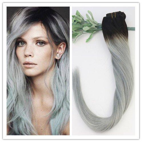 Ombre Couleur 1B/argent 35,6 cm 40,6 cm 45,7 cm 50,8 cm 55,9 cm 100% humains Remay Cheveux raides Clip en Extensions de cheveux