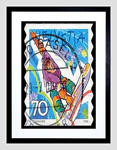 STAMP 1998 SWITZERLAND 70 FRANCS WINTER SPORT SNOWBOARD FRAMED PRINT B12X8251