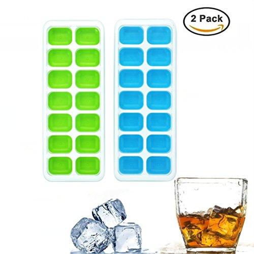 Wuudi Eiswürfelform, 14-fach Eiswürfel, 2er Pack, kühl aufbewahren, LFGB Zertifiziert, Einfach zu bedienen