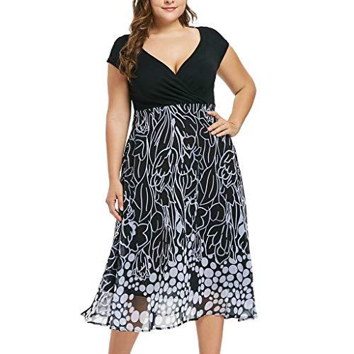 Frauen Art und Weisefrauen Plus Größen-V-Ansatz trägerloses Reizvolles Festes beiläufiges Kurzschluss-Hülsen-Kleid Loose-Passen - Plus Größe Ärmellos Kostüm
