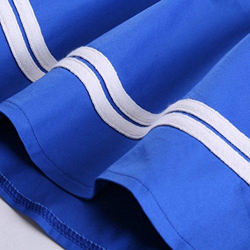 VKStar® Damen Retro 50er Neckholder Swing Rockabilly Abend-Partykleid Taille elastische Cocktailkleid Blau