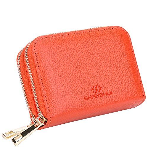 SHANSHUI Damen Kreditkartenetui aus echtem Leder mit RFID Schutz Orange -