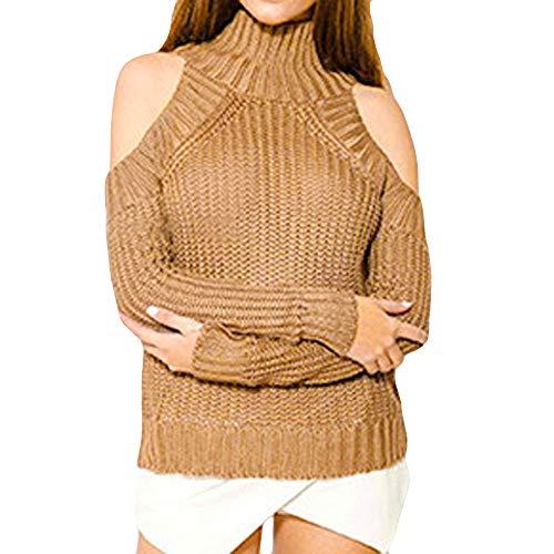 Pull Femme Hiver en Maille ELECTRI DéContractéE Sweater Pas Cher A La Mode Blouse à Col Roulé en Tricot à Manches Longues Pullover Chandails Blouse De Manteau