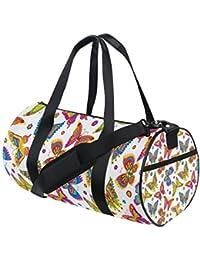 1cae10edcd209 MyDaily Gym Sporttasche Schmetterling buntes Blumenmuster Duffle Reisetasche  für Damen und…