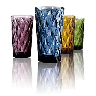 ARTLAND Set of 4 Highgate Hiball Tumblers, Multi-Colour, 8.5 x 8.5 x 15 cm