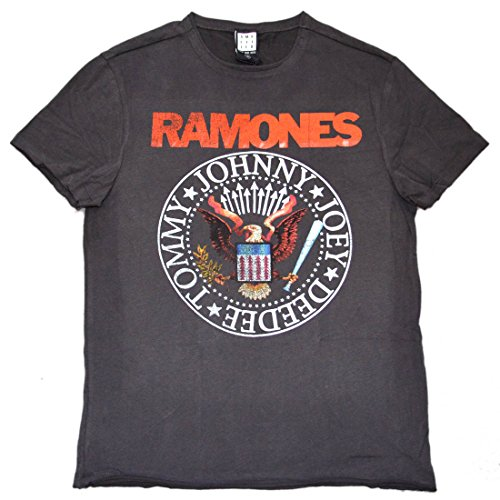 Amplified Shirt Ramones Logo Vintage Seal Unisex, M, charoal -