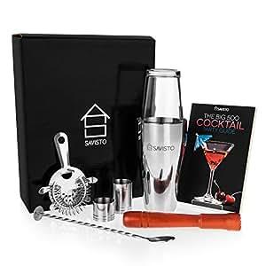 Savisto Premium Cocktail Set mit Boston Cocktail Schüttelbecher, Glas, Rezeptbuch mit 500 Rezepten, 25ml & 50ml Messbecher, gedrehtem Barlöffel, Sieb, Holzstössel, & Elegante Geschenkbox