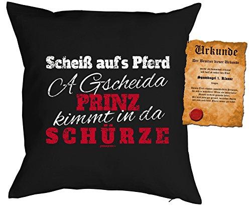 Kochen Deko Kissen - A Gscheida PRINZ kimmt in da SCHÜRZE - Kuscheliges mit SpaßVogel-Urkunde - Schürze Couch