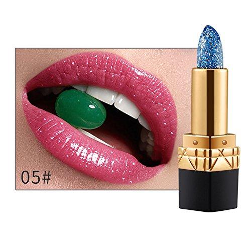 Damen Lippenstift Temperatur Farbe ändern Lippenstift feuchtigkeitsspendende Lippenstift Diamant hellen Lippenstift (E)