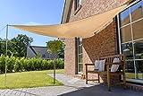 Outent® Sonnensegel 3,6 x 3,6 x 3,6m wasserabweisend Sonnenschutz UV-Schutz beige - 2
