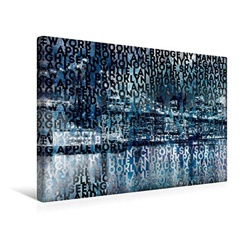 Calvendo Premium Textil-Leinwand 45 cm x 30 cm quer, Urban-Art NYC Brooklyn Bridge I   Wandbild, Bild auf Keilrahmen, Fertigbild auf echter Leinwand. Bridge und Manhattan Skyline Orte Orte