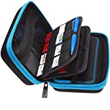 Mikaso 2DS XL Case, Carrying Case for New Nintendo 2DS XL, 24 Game Card Storage Holders and Large Stylus, Large Accessories Pouch - Black/Turquoise