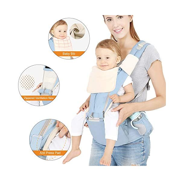 Azeekoom Baby Carrier, Ergonomic Hip Seat, Baby Carrier Sling with Fixing Strap, Bibs, Shoulder Strap, Head Hood for Newborn to Toddler from 0-36 Month (Light Blue)  【More Ergonomic】 - Baby carrier for newborn has an enlarged arc stool to better support the baby's thighs, the M design that allows the knees to be higher than the buttocks when your baby sits, is more ergonomic.The silicone granules on the stool provide a high-quality anti-slip effect that prevents the baby from slipping off the stool. 【Various Methods of Carrying】- There are 5 combinations of ergonomic baby carrier and a variety of ways to wear them.Hip Seat/Fixing Strap + Hip Seat/Shoulder Strap + Hip Seat/Strap + Hip Seat/Strap, 5 combinations to meet your needs.Fixing Strap frees your hands and prevent your baby from falling over the stool.The shoulder straps reduce the burden on your waist and make you more comfortable. 【More Comfortable】 - The baby carrier is made of high quality cotton fabric with 3D breathable mesh for comfort and coolness. The detachable sunshade provides warmth in winter and fresh in summer. The detachable cotton slobber allows you to Easy to change. At the same time, the zip closure is designed for easy removal and cleaning. 2