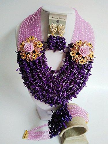 Laanc Mode du Nigeria africain traditionnel de mariage Perles 10couches Corail Ensemble de bijoux-A0005 Purple and Lavender