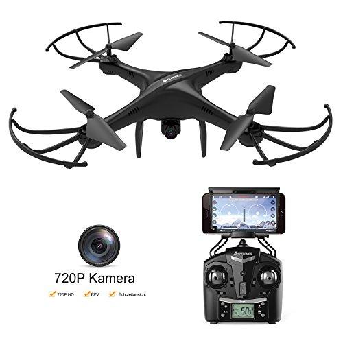 AMZtronics DrohneQuadrocopter mit HD Kamera RTF inkl. 4 Channel 2.4GHz 6-Axis Gyro Kopflos Modell, Höhe Halten Funktion (2 Batterien)