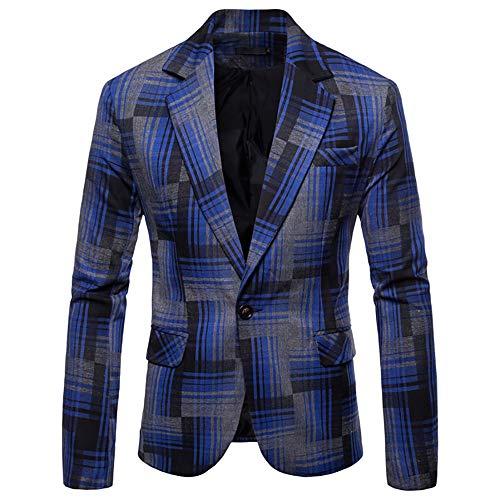 Battnot Herren Anzug Regular Fit Formale Plaid Slim Fit Fashionable Knopf Langarm Suit Blazer, Männer Mantel für Geschäft Hochzeit Party Business Jacke Mens Stilvolle Top Coat Outwear M-3XL Blau -
