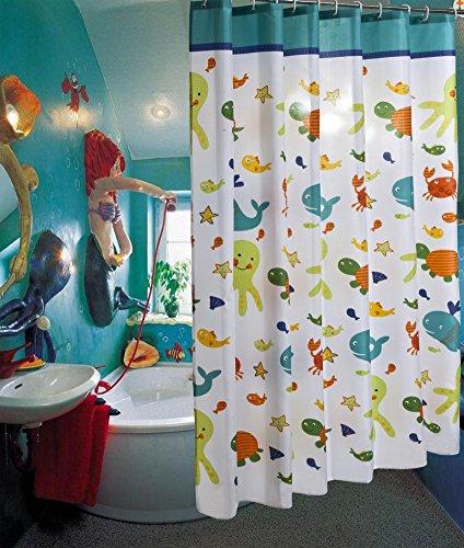 SHIQUNC Funny Kids Cartoon Badezimmer Dusche Vorhang Tier Thema mit Octopus Seestern Muscheln Babys Mädchen Kinderzimmer Bad Schimmelresistent Wasserdicht Dusche Vorhänge, Polyester, 001