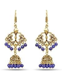 Johareez Brass Jhumka Dangle Earrings With Blue Colored Beads